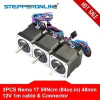 Gratis Schip! Nema 17 Stappenmotor 48 Mm 59Ncm/84oz. in 4-Lood 42 Motor Nema17 Stap Motor 2A 1 M Kabel Voor Diy 3D Printer Cnc Robot