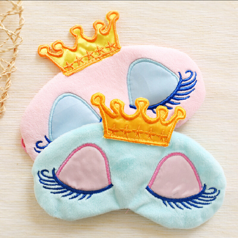 Sleep Eye Mask Cute Crown Cover Plush Eye Cover Kids Sleeping Mask Cartoon Travel Rest Eye Shade Band Eye Patch Blindfold Sleep