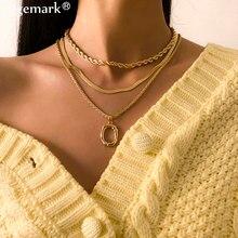 3 Pièces/ensemble Vintage Plat Vaporeux Serpent Chaîne Collier 2021 Mode Cercle Pendentif Torsadé Lien Charme Boho Femmes Bijoux Accessoires