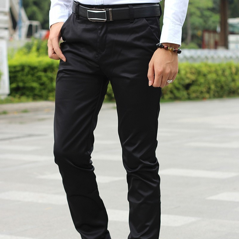 Korea Fashion Slim Fit Mens Smart Casual Full Length Pencil Pants Smooth Black Office Work Wear Formal Male Trousers Size 28-35