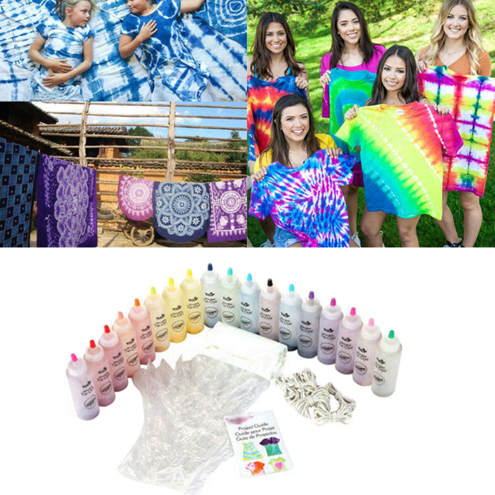 With Gloves Fabric Accessories Decorating Art Making Non Toxic Textile Craft Tie Dye Kit Permanent Paint One Step Party Supplies(China)