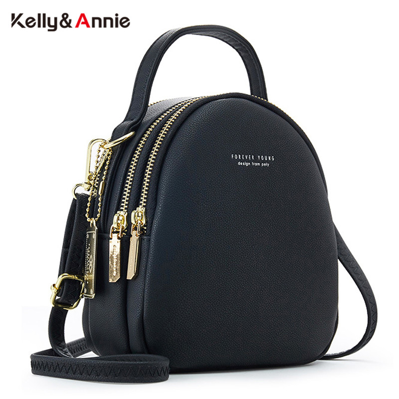 Big Capacity 3 Layer Women Backpack Multi-Function Small Backpack Ladies Shoulder Crossbody Bag Soft Leather Female Mini Bolsa image