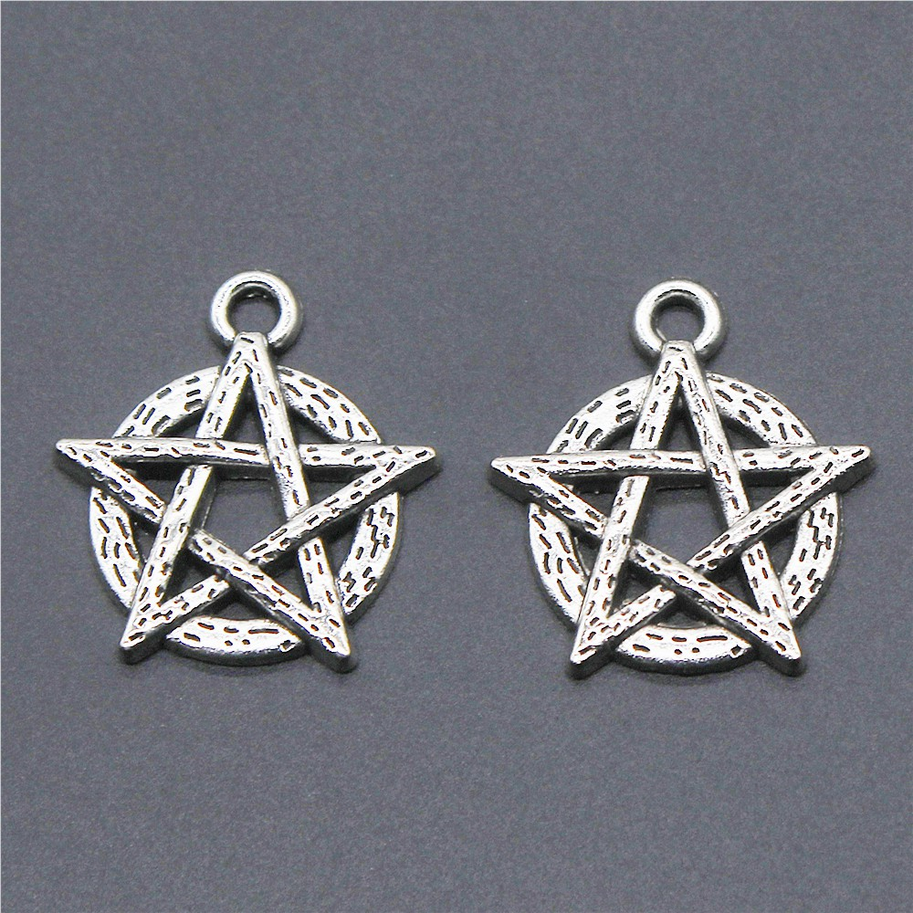 15pcs Pentagram Tibetan Silver Color Charms Jewelry Making Accessories Star Charms Pentagram Pendant 18x19mm