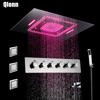 LED Shower Head Set Mist Rain Waterfall  Ceiling Mounted Shower Faucets Thermostatic Mixing Valve Showers 304 Stainless Steel black shower set luxurious bath system large rain waterfall concealed led shower head 600x800mm with thermostatic shower faucets
