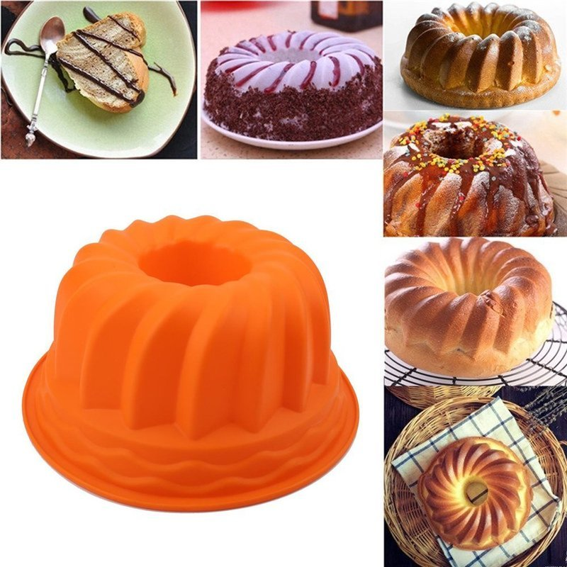 9 Inches Silicon Baking Cake Pan Mold Fluted Round Cake Mould Non Stick Soft Cake Pan for Jello Buntcake Bread Tube Bakeware|Cake Molds| |  - title=