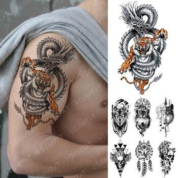Tatuaje temporal impermeable pegatina dragón Tigre geometría Lobo Flash tatuajes corazón cráneo cuerpo arte brazo tatuaje falso mujeres hombres