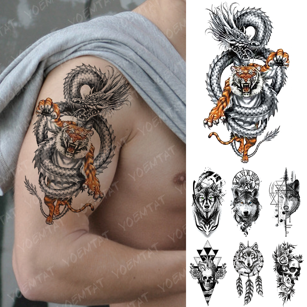 Waterproof Temporary Tattoo Sticker Dragon Tiger Geometry Wolf Flash Tattoos Heart Skull Body Art Arm Fake Tatoo Women Men