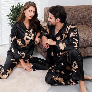 Suit Pyjamas-Set Sleepwear Satin Women Man Couple Silk And Plus-Size