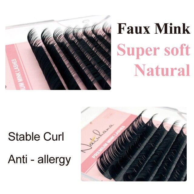 NATUHANA 16lines 8~15mm Mixed Eyelash Extension 100% Handmade Natural Soft False Lashes Wholesale Mink Fake Eyelashes Supplies 4
