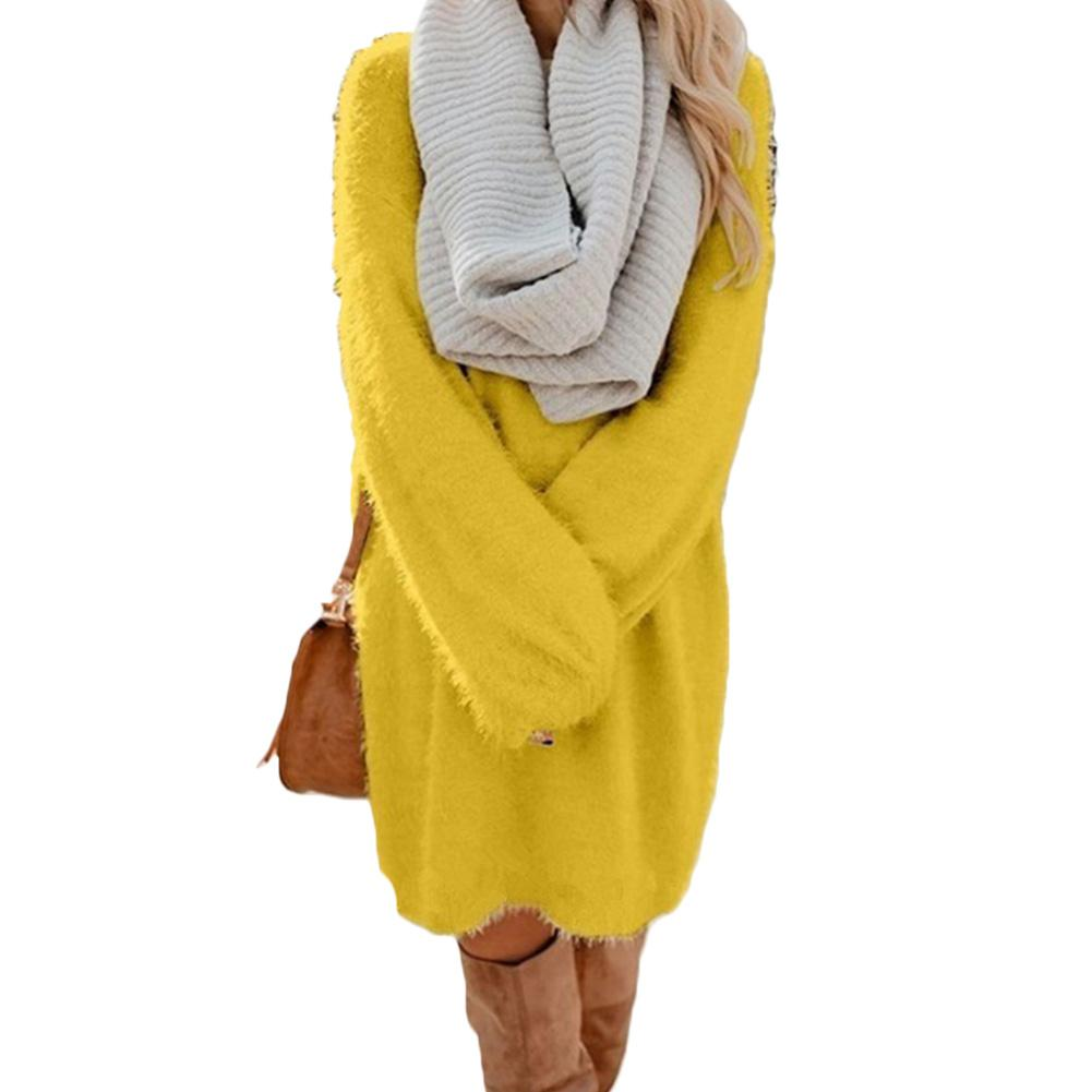 Chic Women Autumn Solid Color O Neck Sweater Fluffy Loose Knee-length Dress