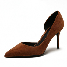 Sexy Women 6CM/8CM/10CM High Heels Pumps Pointed Toe Suede Leather D'Orsay Heels Shoes For Woman Ladies Single Shoes Blue M0045