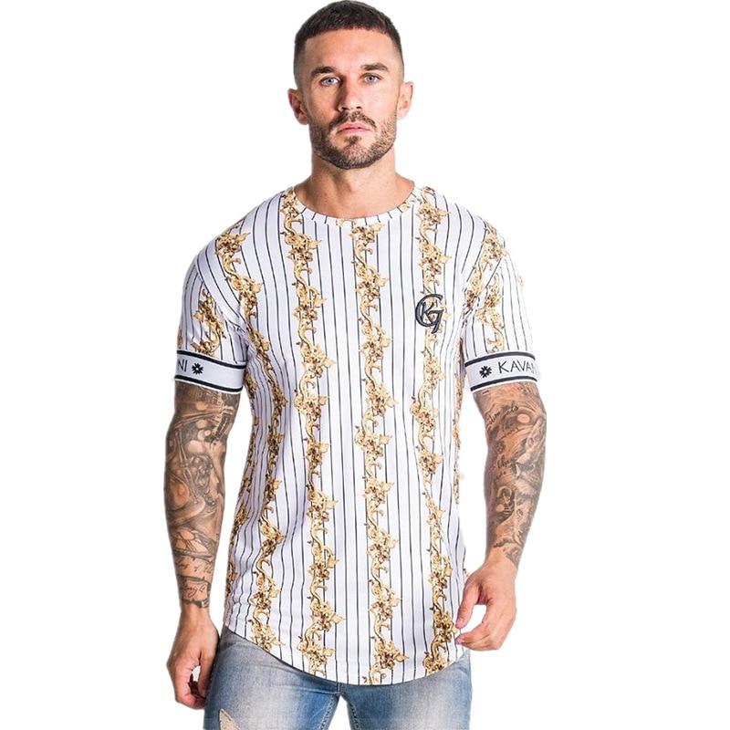 2020 New Mens Striped T Shirt Summer Loose Short Sleeve O-Neck T-shirt Male Casual Fashion Hip Hop Tees Tops Streetwear Clothing
