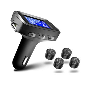 سيارة TPMS نظام مراقبة ضغط الإطارات الرقمية شاشة الكريستال السائل أنظمة إنذار أمن السيارات ضغط الإطارات مع مجموعة أجهزة استشعار خارجية