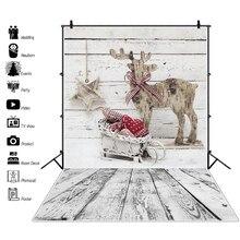 Laeacco Photo Backdrops Christmas Reindeer Sledge Gray Wooden Board Wall Star Gift Kid Backgrounds Photocall Studio