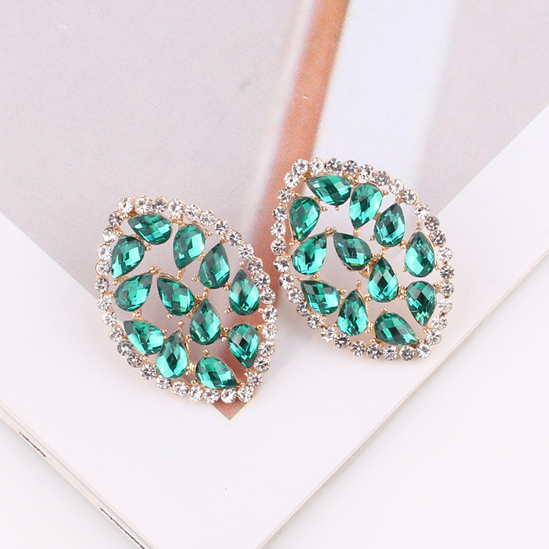 LUBOV Luxury Hyperbole Horse eye Crystal Stud Earrings for Women Rhinestone Big Earings Fashion Jewelry