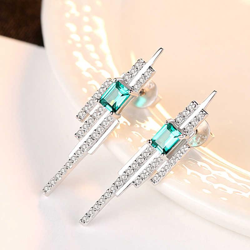 100% 925 כסף החדש אמרלד טבעי זירקון Stud עגילי נשים אופנה מעודן תכשיטי מתנה לחתונה עגילים סיטונאי