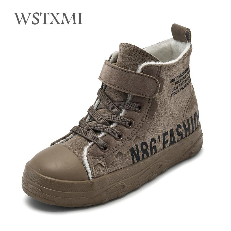 2019 New Winter Boys Shoes Children Ankle Boots Leather Martin Boots Fashion Plush Warm Girls Snow Boots Casual Kids Sneakers