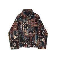 Женская винтажная куртка с квадратным воротником и принтом в стиле хип-хоп на весну и осень, женская уличная мода, богемное свободное повсед...