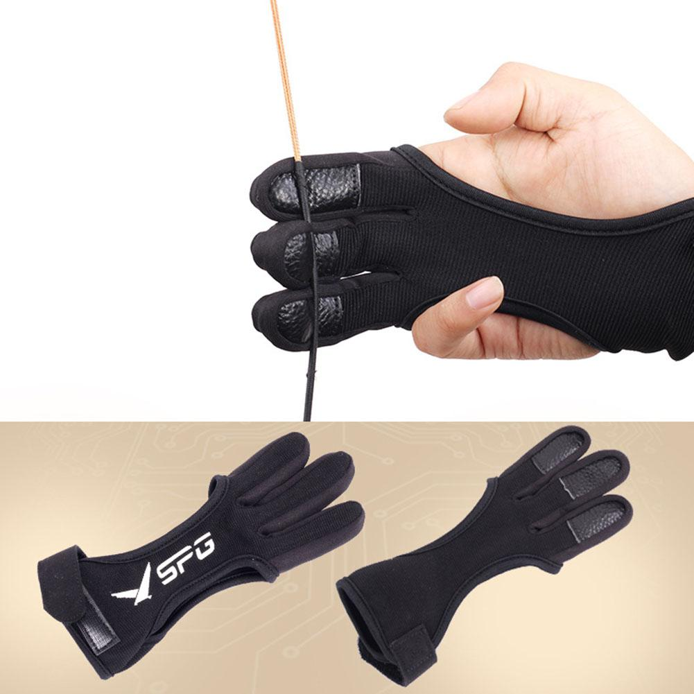 Hunting Gloves 3-Finger Leather Archery Gloves Recurve Bow Protective Gloves On For Outdoor Hunting Archery Gloves Men Women