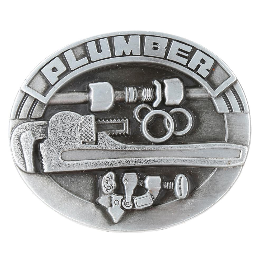 Retro Style Wrench Belt Buckle Oval Metal Western Cowboy Men's Jeans With Accessories