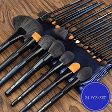 Makeup-Brushes-Set Animal-Hair Beeauty Professional 24pcs Super-Soft