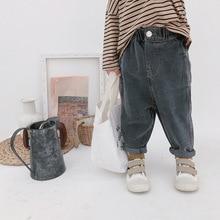 Г. Осенние модные свободные джинсы в Корейском стиле для мальчиков модные джинсы для девочек от 1 до 7 лет, 2 цвета