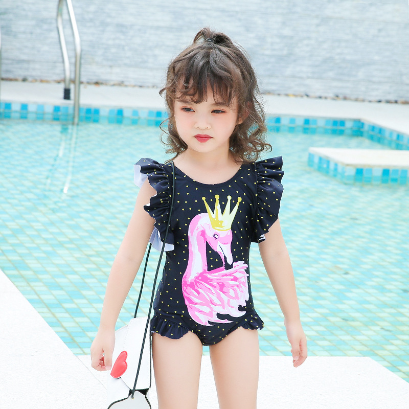2018 New Style Hot Selling Dress One-Piece Bathing Suit Sweet Little Princess Flounced Cartoon Girls KID'S Swimwear