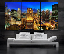 Modern Colorful Photo Picture chicago at night Room Decor Cities Canvas Art Painting Living Bedroom