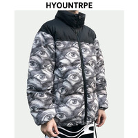 Mens Warm Winter Cotton padded Zipper Jacket and Coat New Stand Collar Bomber Jackets Loose Digital Printing Streetwear Parkas