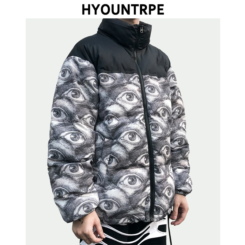 Mens Warm Winter Cotton-padded Zipper Jacket And Coat New Stand Collar Bomber Jackets Loose Digital Printing Streetwear Parkas