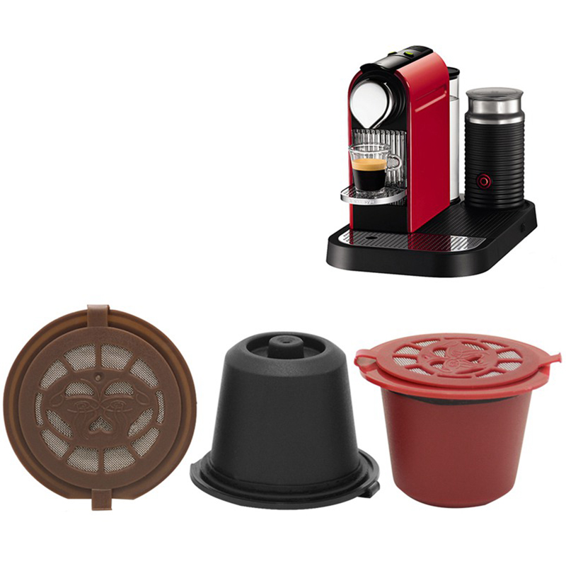 3pcs/set Coffee Capsule Filter Cup Nespresso Reusable Repeat Filter With Refillable Caps Spoon Brush Kitchen Filters Baskets