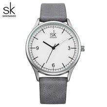Shengke marca de couro relógios femininos moda senhoras relógios de quartzo vintage feminino casual relógios de pulso