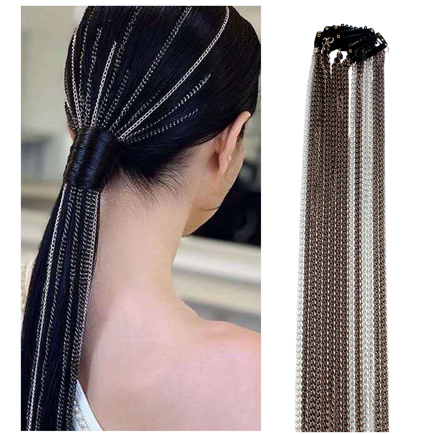 2020 Fashion Hair Chain Hair Clips Tassel Hair Jewelry Accessories Geometric Long Aluminum Chains For Women Creative Headdress