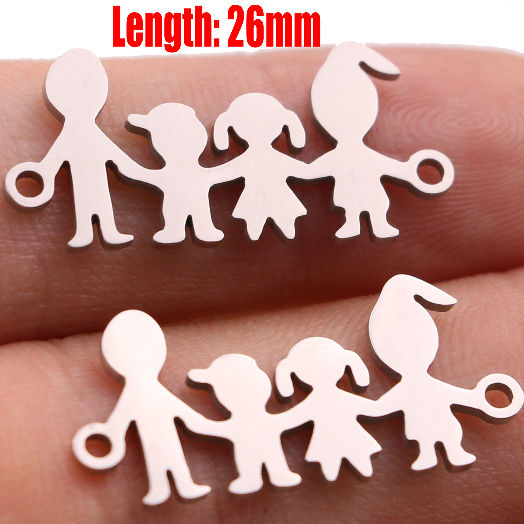 5pcs Family Chain Stainless Steel Pendant Necklace Parents and Children Necklaces Gold/steel Jewelry Gift for Mom Dad New Twice - Цвет: Steel 32