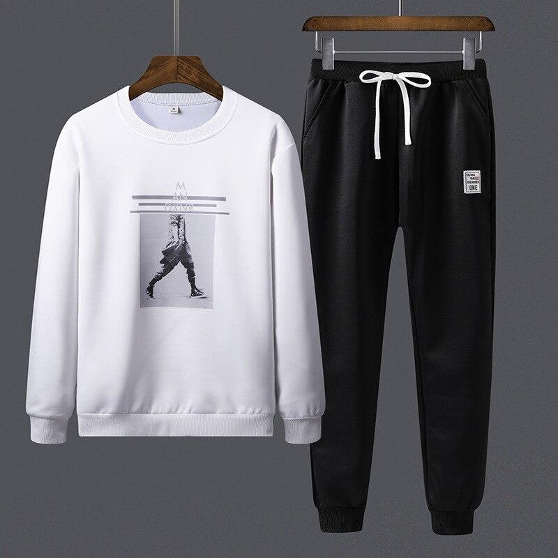 Mens Sportwear Sets Tracksuit Men Sweatshirts Pullover Casual Jackets Elastic Pant Set 2019 Spring Coat Pant Suit For Male HX238