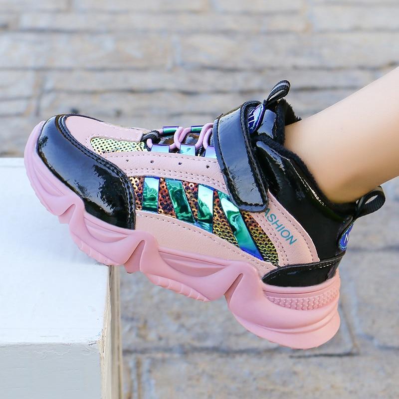 ULKNN Girls Shoes Plus Velvet Sneakers New Fall  Winter Fashion  Tidal Range   Children's Shoes Net Two Red Cotton Sneakers