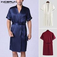 Мужские шелк пятно пижамы халат мужчины ванна с коротким рукавом v-образным вырезом пижамы мужской сплошной цвет рубашки шелковистой ночной рубашке установить INCERUN формы 5XL