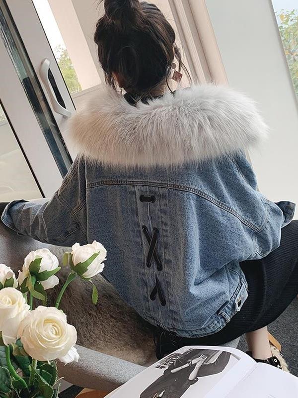 Short Denim Jackets With Fur Women Winter Warm Black Denim Coats Jackets Female Loose Thicken Plus Velvet Jeans Jackets Ladies