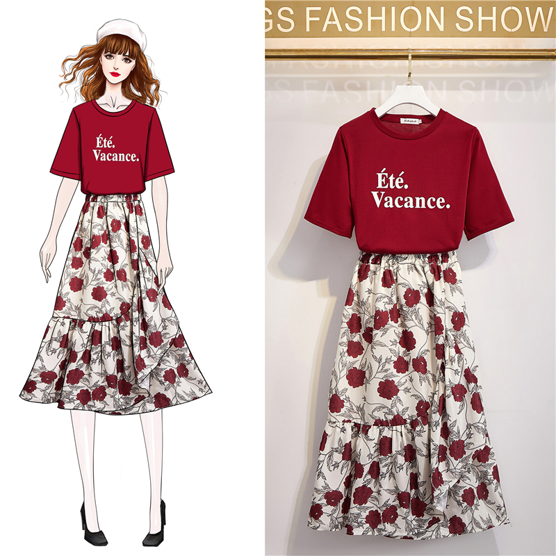 Women's Suits Letter Print Short Sleeve T-Shirts Floral Chiffon Swing Mid-Calf Skirt Casual Two Piece Dress
