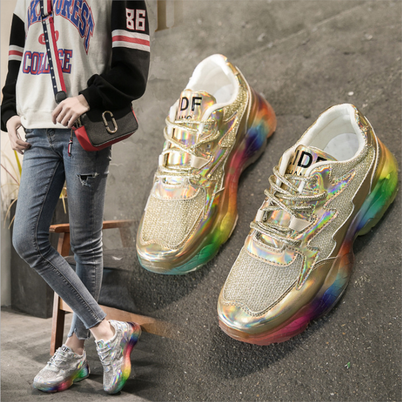 Unisex Sneakers Mixed Colors Trendy Glitter Web Celebrity Chunky Sneaker Shining Running Shoe Chaussures Femme Buty Damskie
