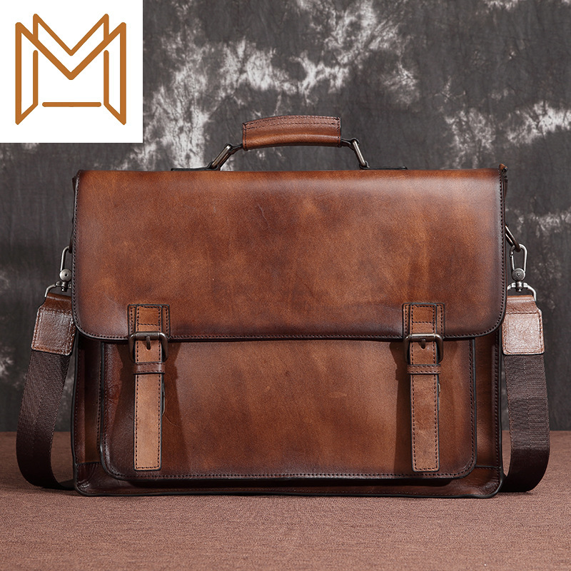 Genuine Leather Male Package Briefcase Head Layer Cowhide Cowhide Man Cross Section Business Affairs Package Men's Handbag