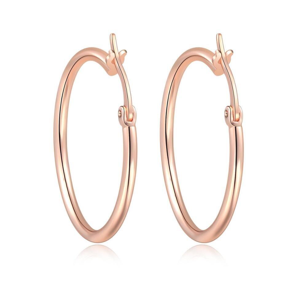 MxGxFam 30 мм цвет розового золота гладкие круглые серьги-кольца для женщин модные ювелирные изделия без камня - Окраска металла: Покрытие из розового золота