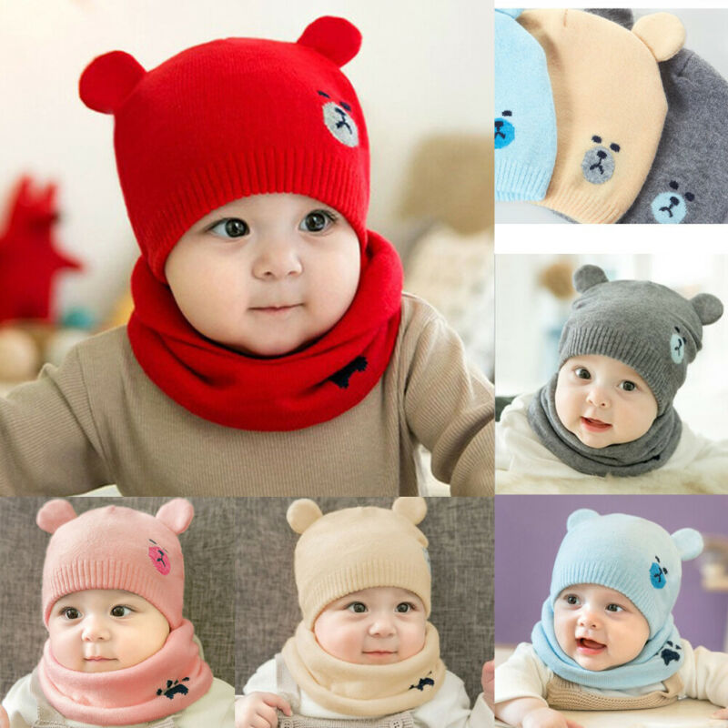 2 Piece Newborn Autumn  Winter Hat Bib  Baby Cute Bear Baby Print Stereo Ear Knitted Hat Toddler Kids Wool Cap For Children