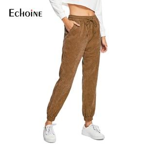 Image 4 - Pantalon en velours côtelé pour femme, taille haute élastique, ample, violet, marine, gris, avec cordon de serrage, automne et hiver, collection décontracté