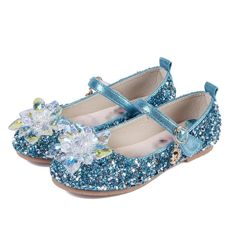 Kid Elsa Princess Sandals for Girls Glitter Flat Crystal Snowflake Dancing Shoes