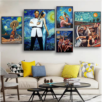 Van Gogh and Friends Funny Abstract Art Printed on Canvas 2