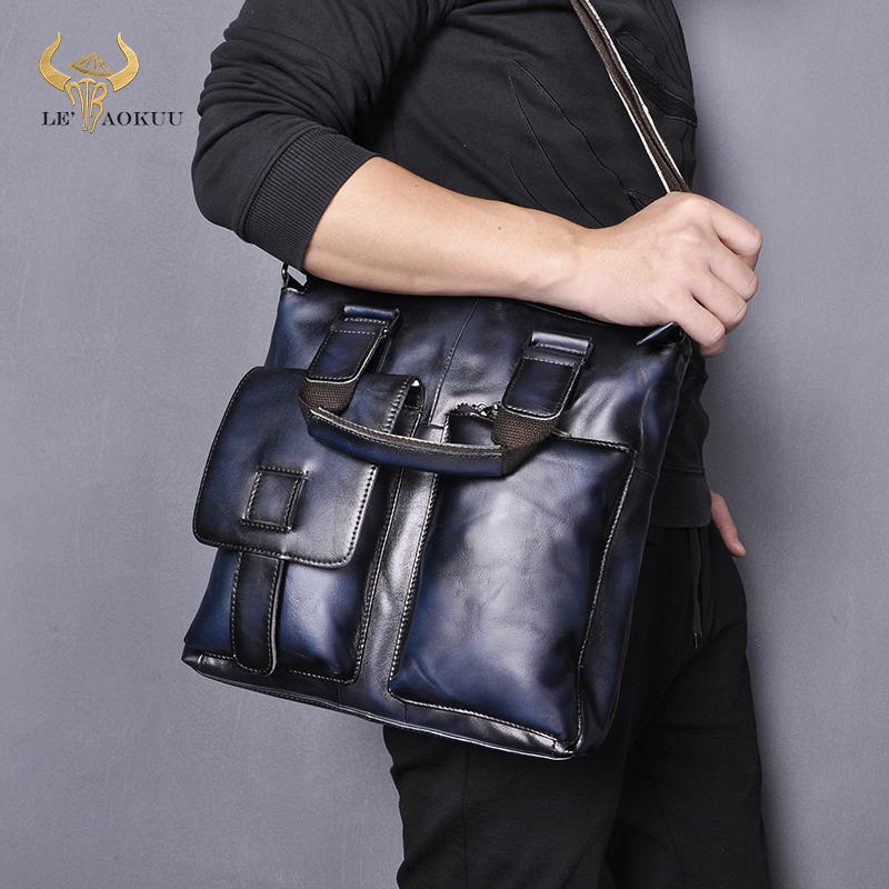 Men Genuine Leather Fashion Blue Designer Business Briefcase Casual Laptop Travel Bag Tote Attache Messenger Bag Portfolio B259
