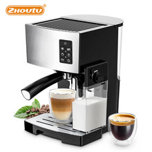 Zhoutu 3 IN 1 Espresso coffee maker with Built in Powerful Milk Frother & Steamer espresso Machine One-Touch Latte & Cappuccino