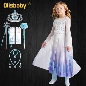 2 платья Снежной Королевы; Платье Эльзы для девочек на день рождения; Платье Эльзы; Костюм принцессы Анны; Косплей на Хэллоуин; Roupa Infantil