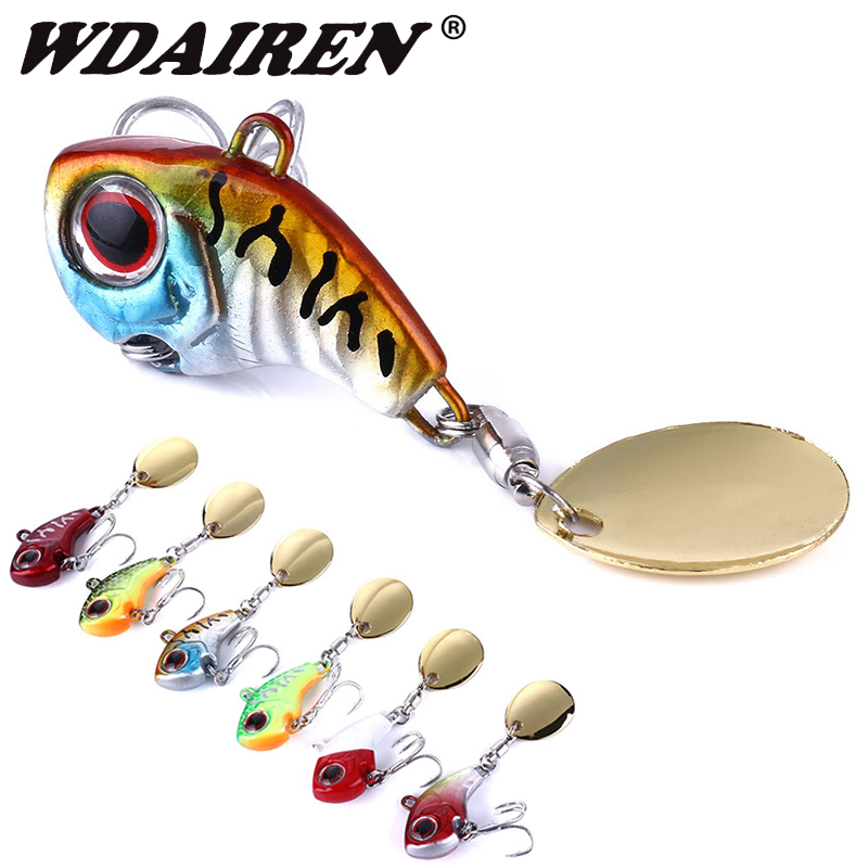 1Pcs Metal VIB With Spinner Spoon Fishing Lure 9g 16g 21g Sinking Lures Rotating Tail Vibration Lure Crankbait Fishing Tackle